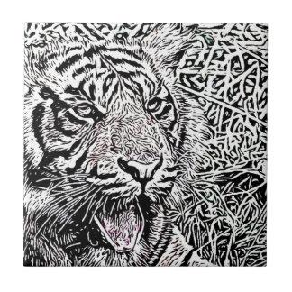 bosquejo del tigre azulejos