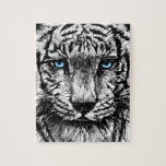 Bosquejo del tigre blanco puzzle con fotos