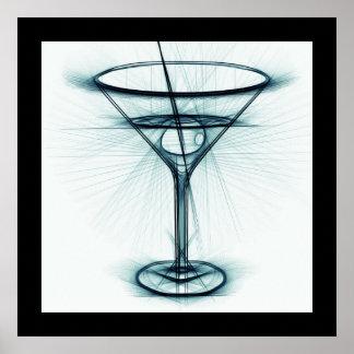 Bosquejo del vidrio de Martini Póster