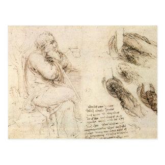 Bosquejo del viejo hombre y del agua de Leonardo d Tarjetas Postales