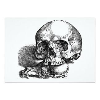 Bosquejo del vintage del cráneo y de las quijadas invitaciones personales