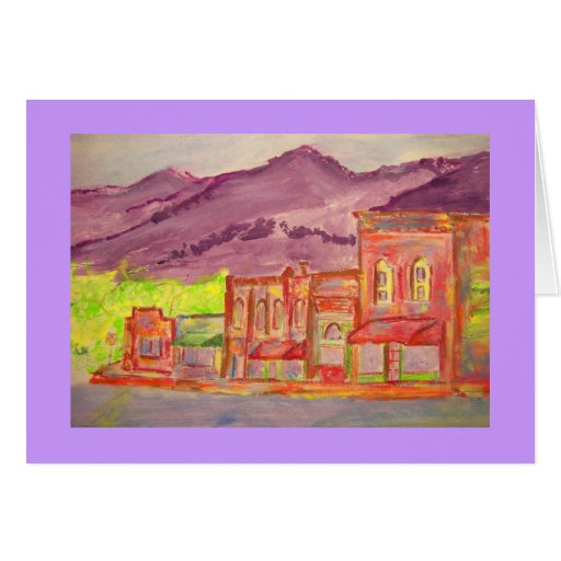 bosquejo del watercolour de la ciudad de la montañ tarjetón
