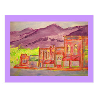bosquejo del watercolour de la ciudad de la postal