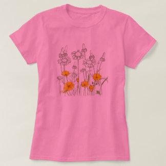 Bosquejo del Wildflower de la flor de la amapola Polera