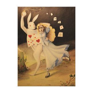 ¡Bosquejo dibujado mano de Alicia y del conejo w/W Impresión En Lona Estirada