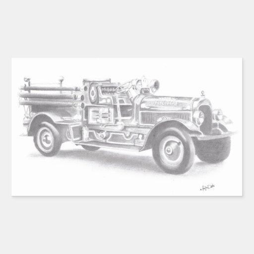 bosquejo dibujado mano del coche de bomberos del pegatina rectangular