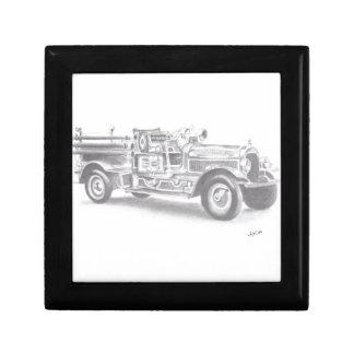 bosquejo dibujado mano del coche de bomberos del v caja de regalo