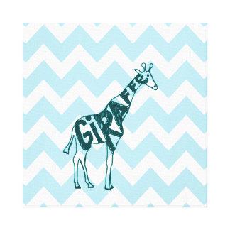 Bosquejo dibujado mano linda de la jirafa en Chevr Impresiones En Lona Estiradas
