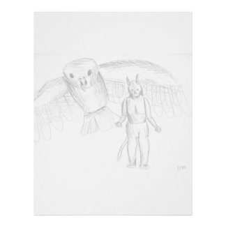 Bosquejo, dibujo del horror del pájaro de vuelo de membrete
