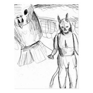 Bosquejo, dibujo del horror del pájaro de vuelo postales