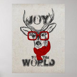 """Bosquejo divertido fresco de los ciervos """"alegría poster"""