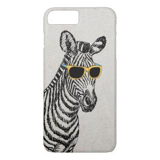 Bosquejo divertido lindo fresco de la cebra con funda iPhone 7 plus