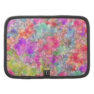 Bosquejo floral del dibujo de la acuarela rosada b organizador