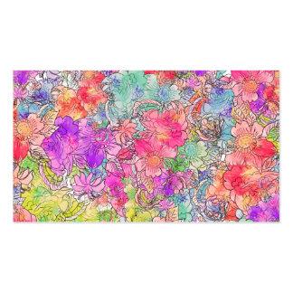 Bosquejo floral del dibujo de la acuarela rosada b tarjetas de visita