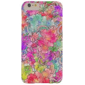 Bosquejo floral del dibujo de la acuarela rosada funda de iPhone 6 plus barely there
