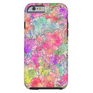Bosquejo floral del dibujo de la acuarela rosada funda de iPhone 6 tough