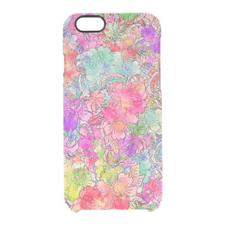Bosquejo floral del dibujo de la acuarela rosada funda clear para iPhone 6/6S