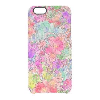 Bosquejo floral del dibujo de la acuarela rosada funda clearly™ deflector para iPhone 6 de uncommon