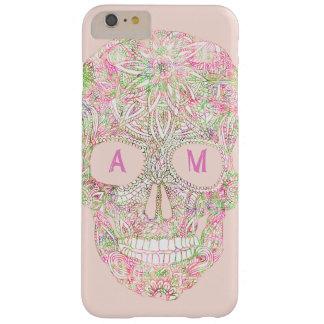 Bosquejo floral rosado de encargo del cráneo del funda barely there iPhone 6 plus