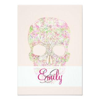 """Bosquejo floral rosado del cráneo del azúcar de invitación 5"""" x 7"""""""