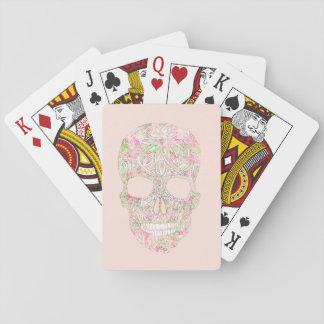 Bosquejo floral rosado femenino del cráneo del cartas de póquer