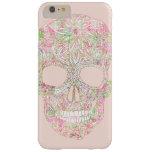 Bosquejo floral rosado femenino del cráneo del funda para iPhone 6 plus barely there