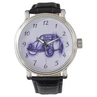 Bosquejo fresco del coche en púrpura relojes de mano