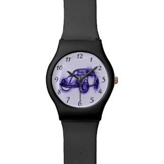 Bosquejo fresco del coche en púrpura reloj de mano