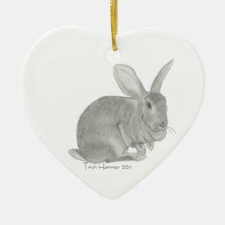 Bosquejo gigante flamenco del conejo adorno navideño de cerámica en forma de corazón