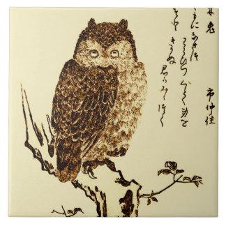 Bosquejo japonés de la tinta del vintage de un azulejos ceramicos