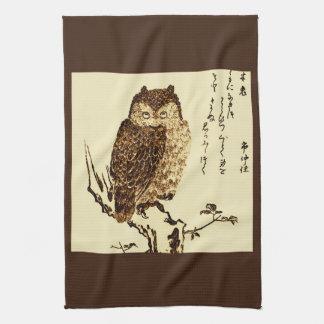 Bosquejo japonés de la tinta del vintage de un toallas