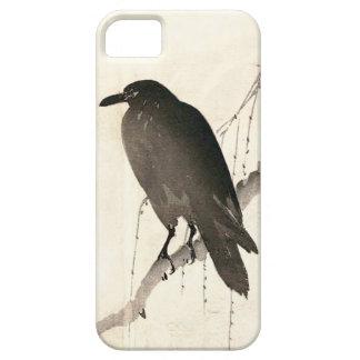 Bosquejo japonés de un cuervo iPhone 5 carcasas