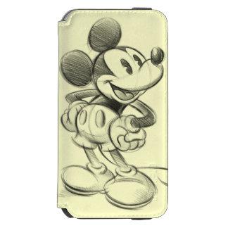 Bosquejo Mickey Mouse Funda Billetera Para iPhone 6 Watson