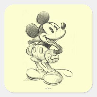 Bosquejo Mickey Mouse Pegatina Cuadrada