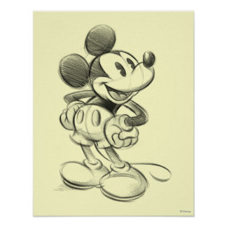Bosquejo Mickey Mouse Póster