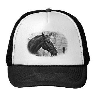 Bosquejo negro del caballo blanco gorras