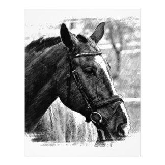 Bosquejo negro del caballo blanco membrete personalizado