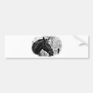 Bosquejo negro del caballo blanco pegatina para auto