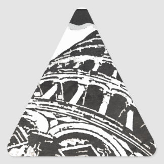 Bosquejo negro y blanco de la torre inclinada pegatina triangular