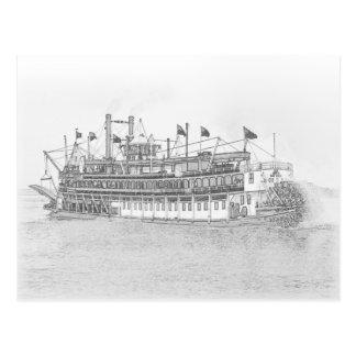 Bosquejo negro y blanco del barco de vapor de New  Tarjeta Postal