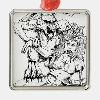Bosquejo original y diseño del MÚN artista del Adorno Navideño Cuadrado De Metal
