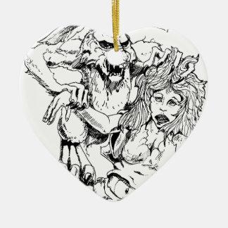 Bosquejo original y diseño del MÚN artista del Adorno Navideño De Cerámica En Forma De Corazón