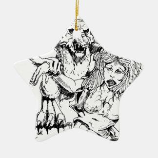 Bosquejo original y diseño del MÚN artista del Adorno Navideño De Cerámica En Forma De Estrella