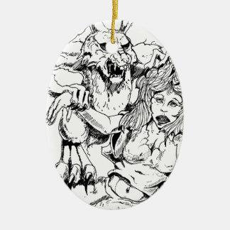 Bosquejo original y diseño del MÚN artista del Adorno Navideño Ovalado De Cerámica