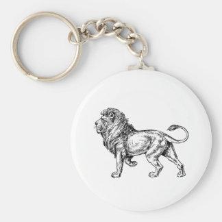 Bosquejo poderoso del león llavero redondo tipo pin