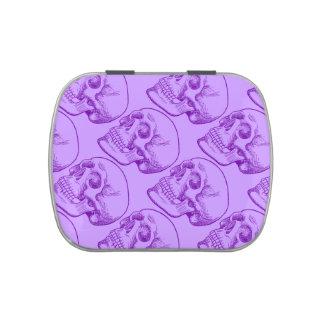 Bosquejo púrpura del dibujo lineal del cráneo huma frascos de dulces
