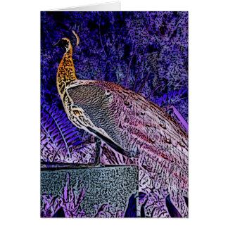 bosquejo púrpura del pavo real invertido tarjeta