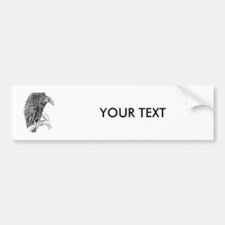 Bosquejo realista del pájaro del buitre etiqueta de parachoque