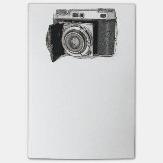 Bosquejo retro del dibujo de la fotografía de la c post-it nota