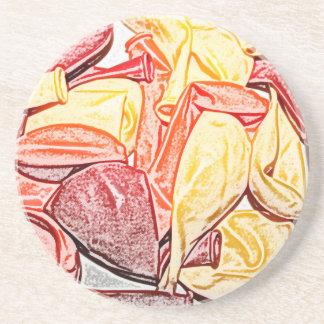 bosquejo rojo del globo del amarillo anaranjado posavasos personalizados
